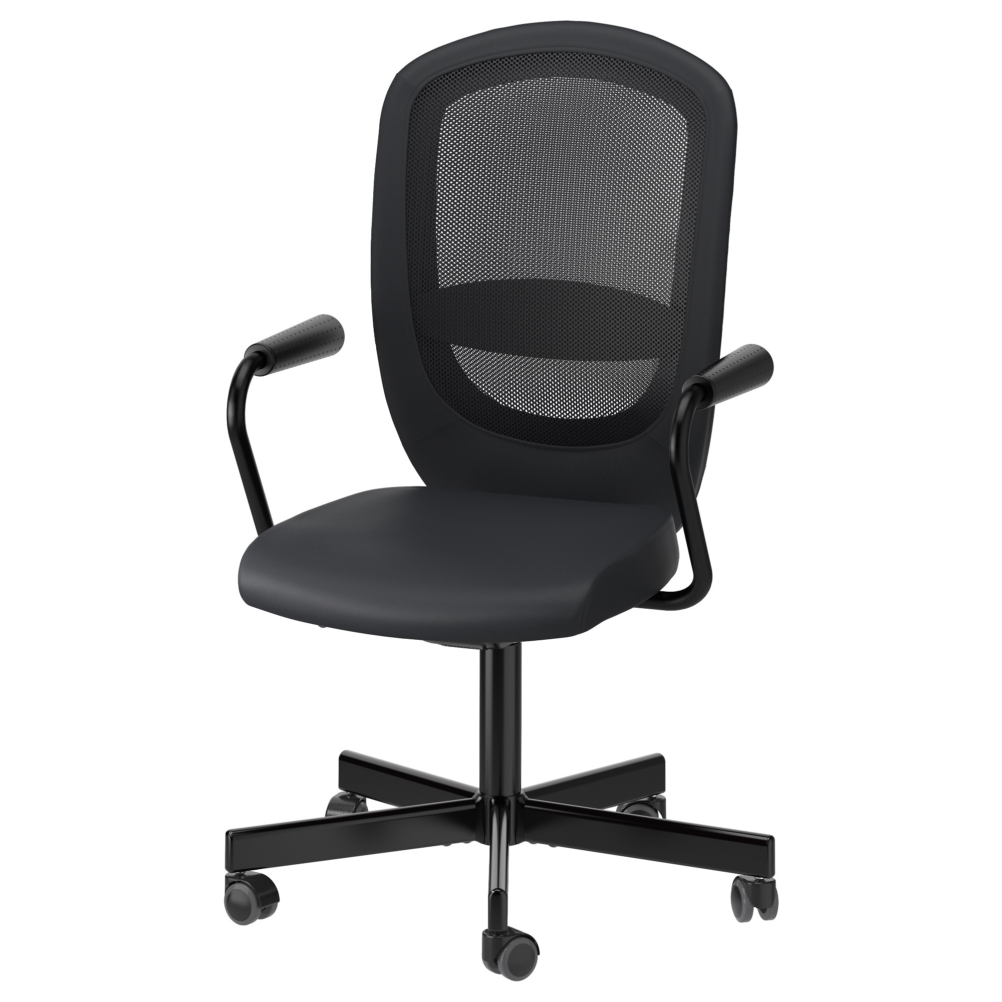 FLINTAN / NOMINELL Swivel Chair With Armrests, Black Tested For: 242 Lb 8 Oz
