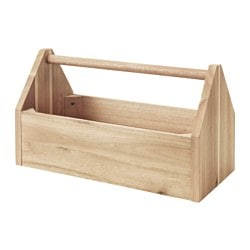 SKOGSTA box with handle, acacia Length: 40 cm Width: 20 cm Height: 23 cm