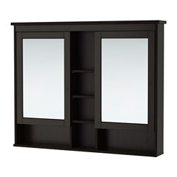 HEMNES mirror cabinet with 2 doors, black-brown stain Width: 120 cm Depth: 16 cm Height: 98 cm