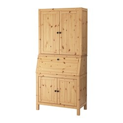 "HEMNES secretary with add-on-unit, light brown Width: 35 "" Depth: 18 1/8 "" Height: 77 1/2 "" Width: 89 cm Depth: 46 cm Height: 197 cm"