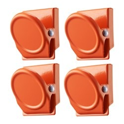 OLEBY clip with magnet, orange Package quantity: 4 pack