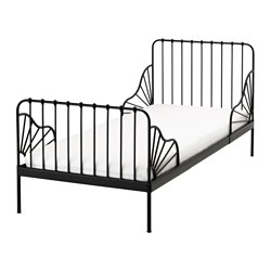 MINNEN ext bed frame with slatted bed base, black Min. length: 135 cm Max. length: 206 cm Width: 85 cm