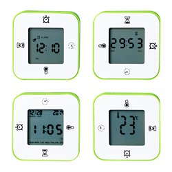 LÖTTORP clock/thermometer/alarm/timer, green, black/white Width: 7 cm Depth: 3 cm Height: 7 cm