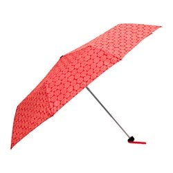 KNALLA umbrella, foldable red/white Min. length: 20 cm Max. length: 57 cm Diameter: 95 cm