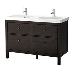 HEMNES /  ODENSVIK wash-stand with 4 drawers, black-brown stain Width: 120 cm Depth: 49 cm Height: 89 cm