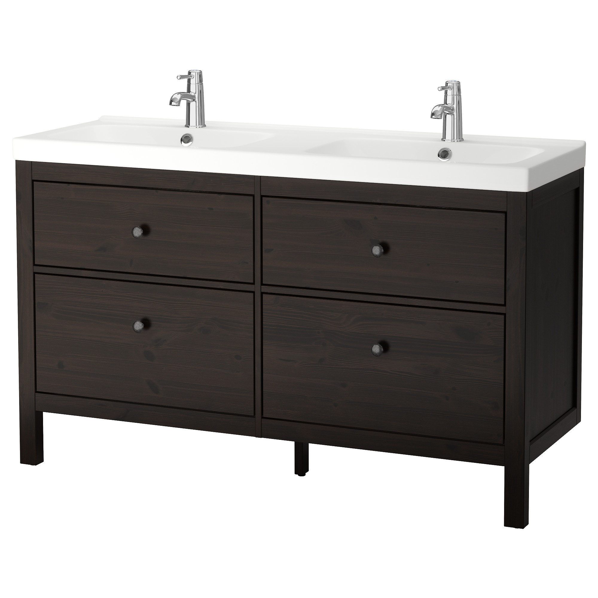 HEMNES / ODENSVIK Sink Cabinet With 4 Drawers, Black Brown Stain Width: 55
