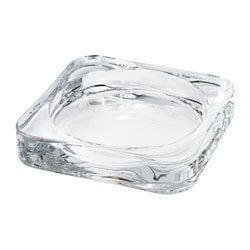 GLASIG candle dish, clear glass Length: 10 cm Width: 10 cm Height: 1.5 cm