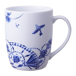"PROMENAD mug, dark blue, white Diameter: 4 "" Height: 3 "" Diameter: 11 cm Height: 7 cm"