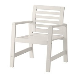 ÄPPLARÖ chair with armrests, outdoor, white Width: 62 cm Depth: 65 cm Height: 82 cm