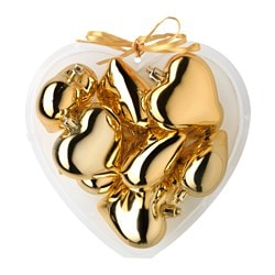 VINTER 2015 hanging decoration, heart gold-colour Height: 6 cm Package quantity: 9 pack