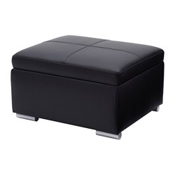 DJUPADAL footstool with storage, Bomstad black, Glose Length: 62 cm Width: 52 cm Height: 38 cm