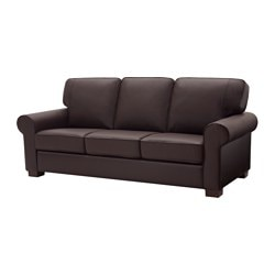 EKTORP three-seat sofa, Kimstad dark brown, Mjuk Width: 208 cm Depth: 93 cm Free height under furniture: 6 cm