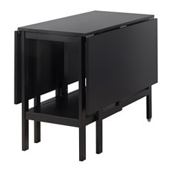 BARSVIKEN drop-leaf table, black Length: 90 cm Min. length: 45 cm Max. length: 135 cm