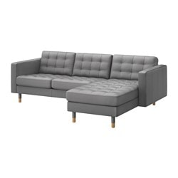 "LANDSKRONA loveseat and chaise, Bomstad gray/wood, Grann Max. depth: 62 1/4 "" Armrest height: 25 1/4 "" Min. seat depth: 22 "" Max. depth: 158 cm Armrest height: 64 cm Min. seat depth: 56 cm"