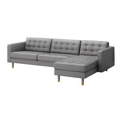 "LANDSKRONA sofa and chaise, Bomstad gray/wood, Grann Max. depth: 62 1/4 "" Armrest height: 25 1/4 "" Min. seat depth: 22 "" Max. depth: 158 cm Armrest height: 64 cm Min. seat depth: 56 cm"