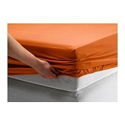 DVALA fitted sheet, orange Thread count: 144 /inch² Length: 200 cm Width: 150 cm