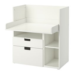 STUVA desk with 2 drawers, white Width: 90 cm Depth: 79 cm Height: 102 cm