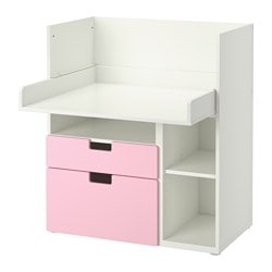STUVA desk with 2 drawers, pink, white Width: 90 cm Depth: 79 cm Height: 102 cm