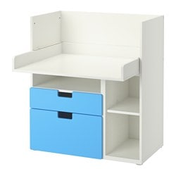 "STUVA desk with 2 drawers, white, blue Width: 35 3/8 "" Depth: 31 1/8 "" Height: 40 1/8 "" Width: 90 cm Depth: 79 cm Height: 102 cm"