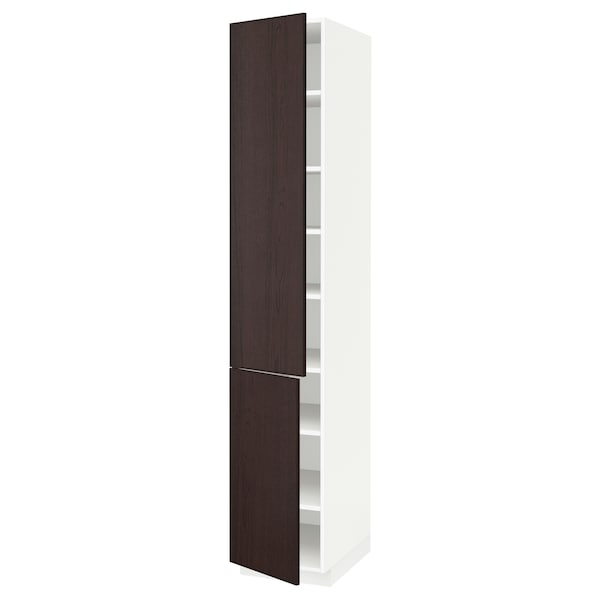 low priced 9ccfe 9394c High cabinet with shelves/2 doors METOD white, Ekestad brown