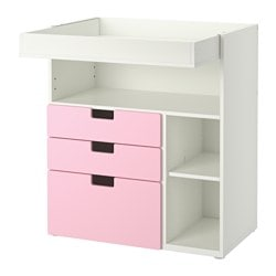 "STUVA changing table with 3 drawers, pink, white Width: 35 3/8 "" Depth: 31 1/8 "" Height: 40 1/8 "" Width: 90 cm Depth: 79 cm Height: 102 cm"