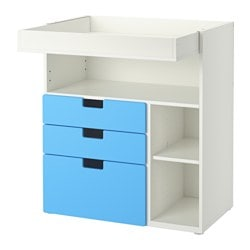 "STUVA changing table with 3 drawers, white, blue Width: 35 3/8 "" Depth: 31 1/8 "" Height: 40 1/8 "" Width: 90 cm Depth: 79 cm Height: 102 cm"