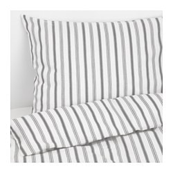 HÖSTÖGA quilt cover and 2 pillowcases, striped, grey