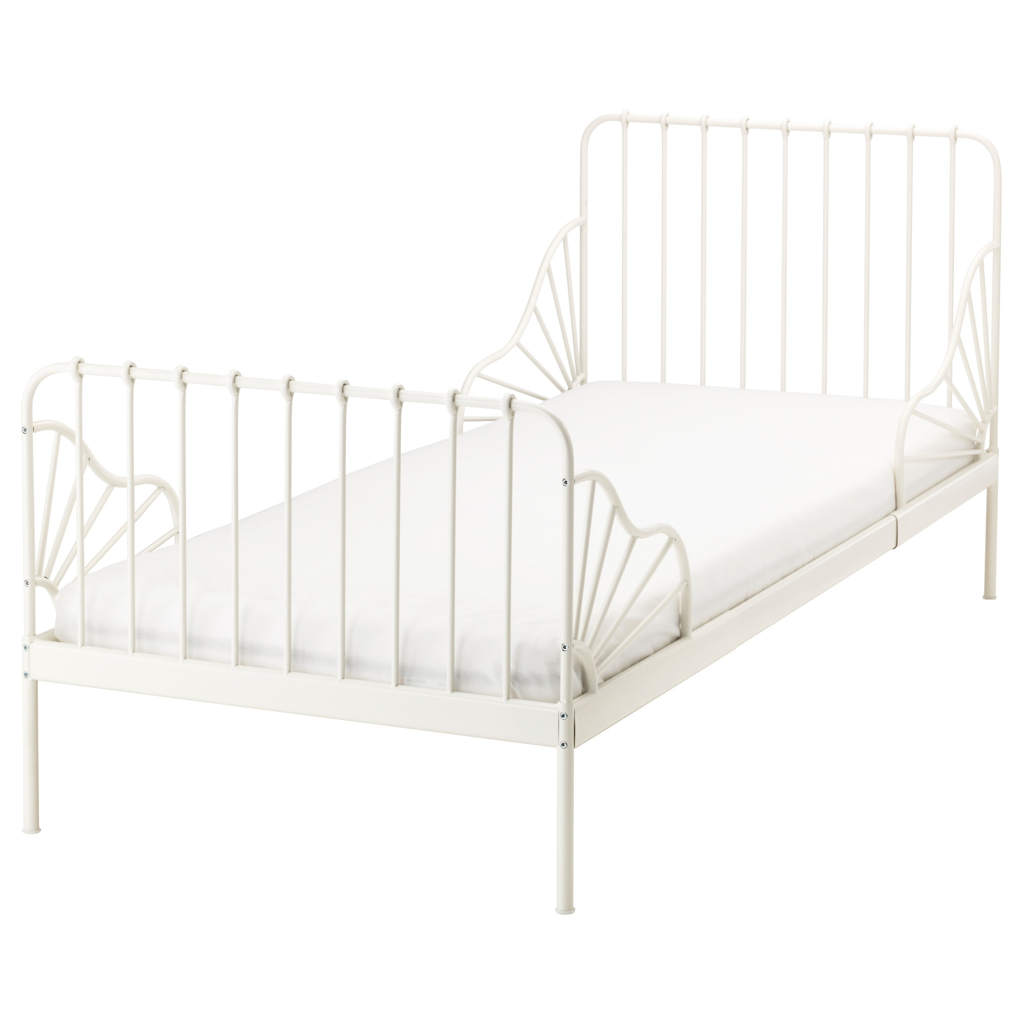 minnen ext bed frame with slatted bed base white min length 49 1