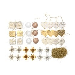 VINTER 2015 37-piece hanging decoration set, gold-colour