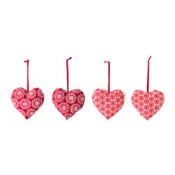 VINTER 2015 hanging decoration, red, heart Height: 9 cm Package quantity: 4 pack