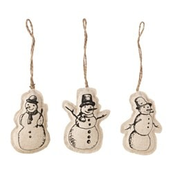 VINTER 2015 hanging decoration, textile snowman Height: 10 cm Package quantity: 3 pack