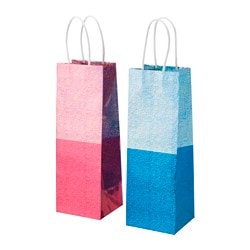 VINTER 2015 gift bag, pink, blue Width: 11 cm Height: 32 cm Package quantity: 2 pack