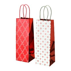 VINTER 2015 gift bag, white, red Width: 11 cm Height: 32 cm Package quantity: 2 pack
