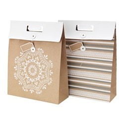 VINTER 2015 gift bag, white, natural Width: 33 cm Height: 42 cm Package quantity: 2 pack