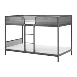 "TUFFING bunk bed frame Length: 77 1/2 "" Width: 40 1/2 "" Height under furniture: 5 3/4 "" Length: 197 cm Width: 103 cm Height under furniture: 14.5 cm"