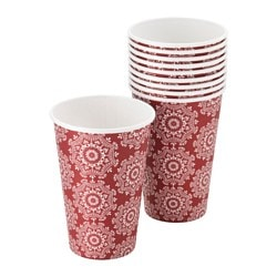 VINTER 2015 disposable mug, red, patterned Volume: 35 cl Package quantity: 10 pack