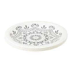 VINTER 2015 paper side plate, grey, patterned white Diameter: 19.5 cm Package quantity: 10 pack