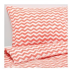 "SOMMAR 2016 duvet cover and pillowcase(s), light red Thread count: 120 square inches Pillowcase quantity: 2 pack Duvet cover length: 86 "" Thread count: 120 square inches Pillowcase quantity: 2 pack Duvet cover length: 218 cm"