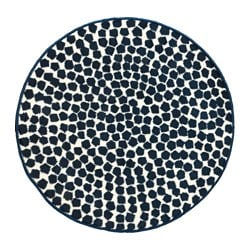 FLÖNG rug, low pile, dark blue, white Diameter: 80 cm Area: 0.50 m² Surface density: 2140 g/m²