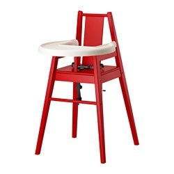 BLÅMES highchair with tray, red Width: 51 cm Depth: 54 cm Seat width: 30 cm