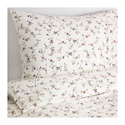 "LJUSÖGA duvet cover and pillowcase(s), flower Thread count: 144 square inches Pillowcase quantity: 2 pack Duvet cover length: 86 "" Thread count: 144 square inches Pillowcase quantity: 2 pack Duvet cover length: 218 cm"