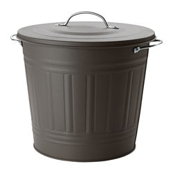 KNODD bin with lid, grey Height: 32 cm Diameter: 34 cm Volume: 16 l