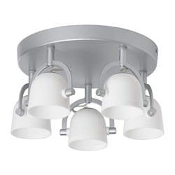 "SVIRVEL ceiling light with 5 spotlights Max.: 7 W Diameter: 12 "" Shade diameter: 4 "" Max.: 7 W Diameter: 30 cm Shade diameter: 9 cm"