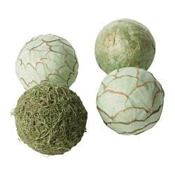 SOMLIG decoration, ball, green Diameter: 9 cm Package quantity: 4 pack