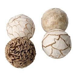 SOMLIG decoration, ball, natural Diameter: 9 cm Package quantity: 4 pack