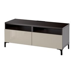 "BESTÅ TV unit with drawers, Selsviken high-gloss/beige, black-brown Width: 47 1/4 "" Depth: 15 3/4 "" Height: 18 7/8 "" Width: 120 cm Depth: 40 cm Height: 48 cm"