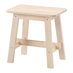 NORRÅKER stool, white birch Tested for: 110 kg Width: 45 cm Depth: 29 cm