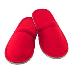 "NJUTA slippers, red, S/M Length: 10 ½ "" Width: 4 ¼ "" Height: 3 "" Length: 26.5 cm Width: 10.5 cm Height: 7.5 cm"