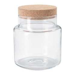 SINNERLIG jar with lid, clear glass, cork Height: 22 cm Diameter: 18 cm Volume: 3.5 l