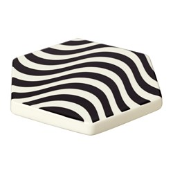 TILLFÄLLE pot stand, black/white Length: 15 cm Width: 15 cm Thickness: 12 mm